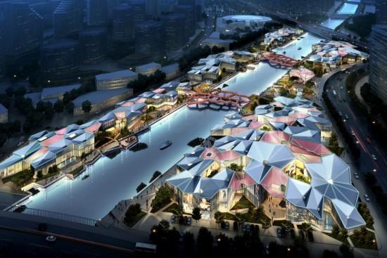 El diseño con el que Baum ganó el primer premio para recuperar urbanística y arquitectónicamente la zona del río Beitang en la ciudad de Hangzhou.