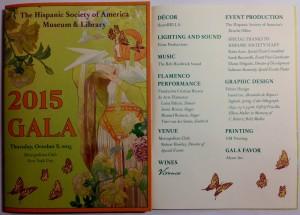Foto del programa de mano Gala en la Hispanic Society NY